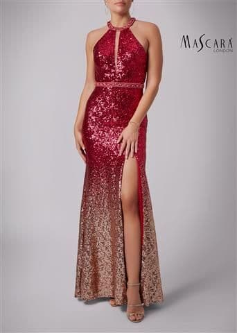 Mascara Ombre Sequin Evening Gown MC166105 in Fuchsia