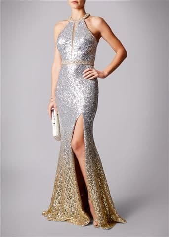 Mascara Ombre Sequin Evening Gown MC166105 in Silver