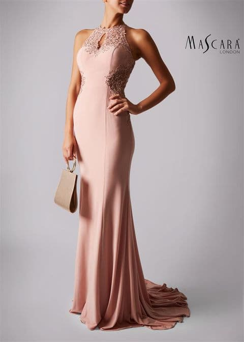 Mascara Racer Embellished  Evening Gown MC181359 in Dusty Rose