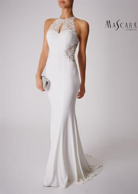Mascara Racer Embellished  Evening Gown MC181359 in Ivory