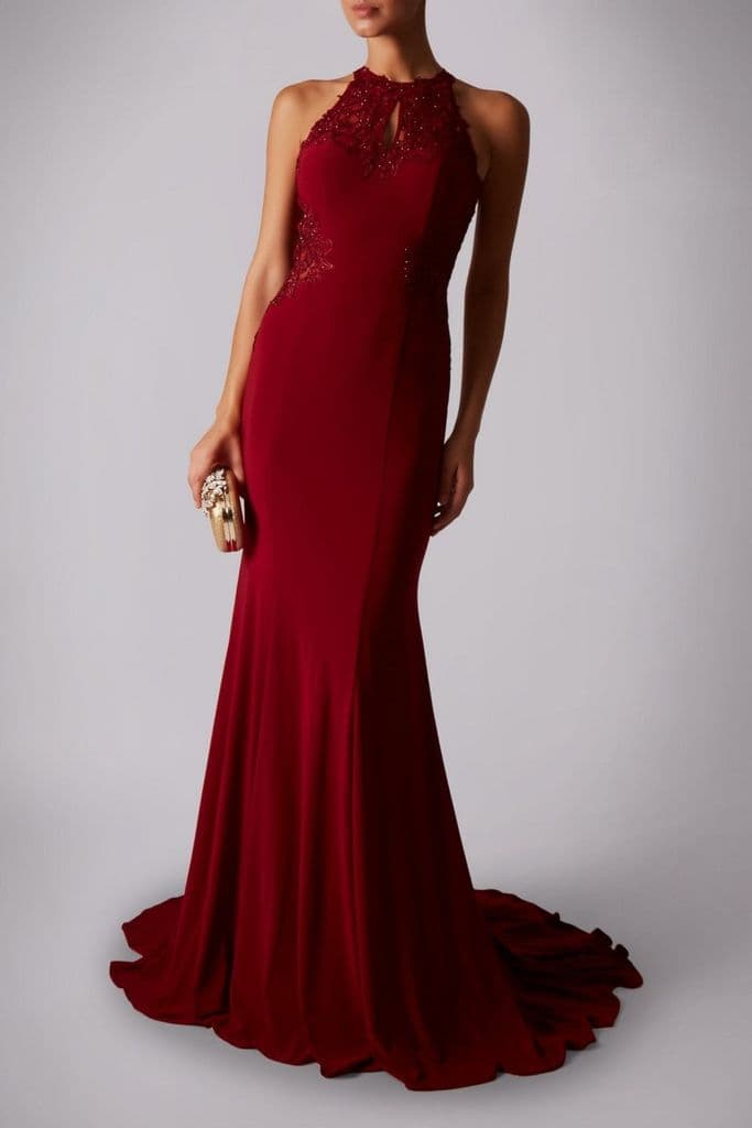 Mascara Racer Embellished  Evening Gown MC181359 in Wine