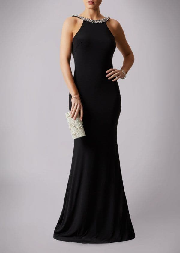 Mascara Racer Neck Backless Evening Gown MC181193P in Black