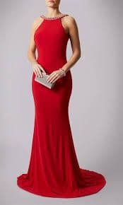 Mascara Racer Neck Backless Evening Gown MC181193P in Red