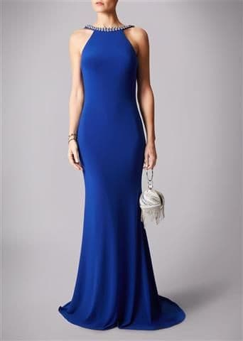 Mascara Racer Neck Backless Evening Gown MC181193P in Royal