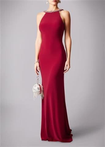 Mascara Racer Neck Backless Evening Gown MC181193P in Wine