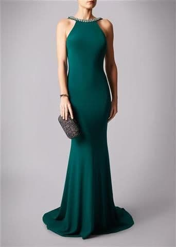 Mascara Racer Neck Backless Evening Gown MC181341P in Forest Green