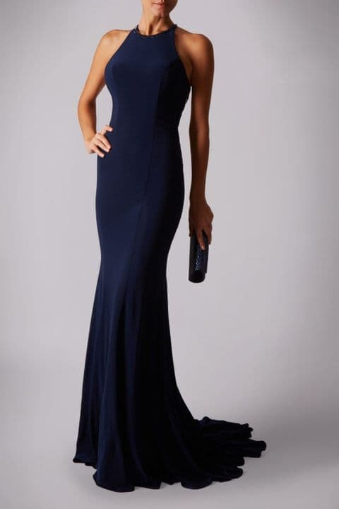 Mascara Racer Neck Backless Evening Gown MC181360G in Navy