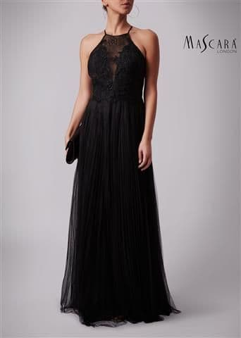 Mascara Soft Net and Lace Evening & Prom Dress MC188187 in Black