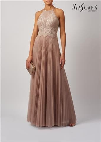 Mascara Soft Net and Lace Evening & Prom Dress MC188187 in Taupe