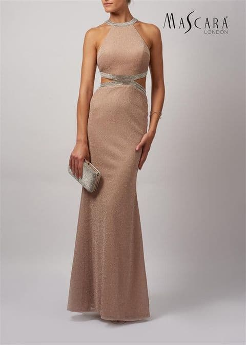 Mascara Sparkle Evening Gown MC166134 in Champagne
