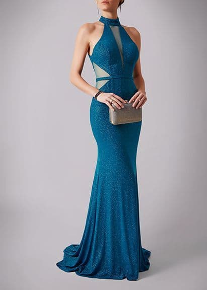 Mascara Sparkle Racer Neck Evening Gown MC181266P in Teal UK Size 10