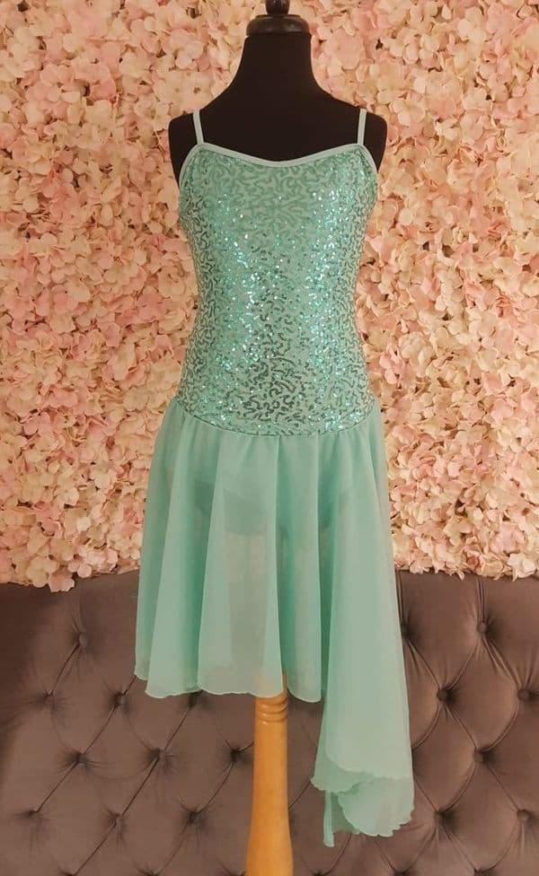 Mint Sequin Lyrical Ballet Dress with leotard and leggings