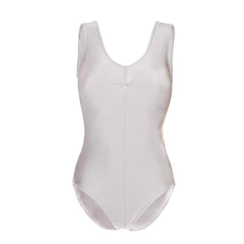 No Sleeve Leotard with Ruche Front in White