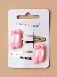 Pink Ballet Shoe Hair Clips