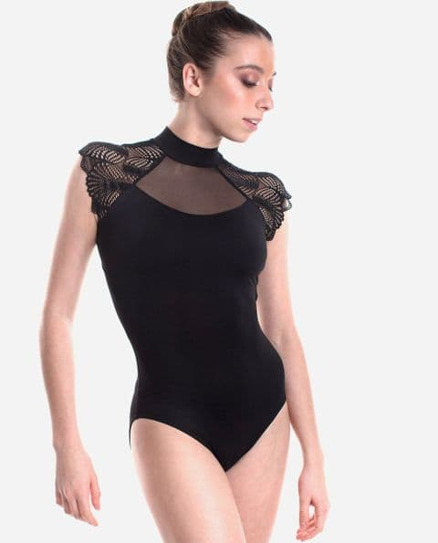 SO Danca Fan Lace Turtle Neck Leotard