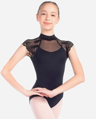 SO Danca Girls Fan Lace Turtle Neck Leotard