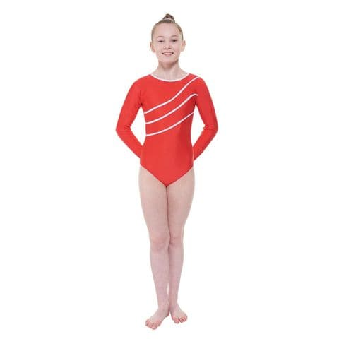 Tappers & Pointers Detail/3 Long Sleeve Gym Leotard in Red