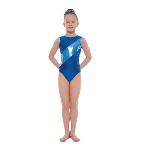 Tappers & Pointers Gym 12 Shine No Sleeve Leotard In Paradise Blue