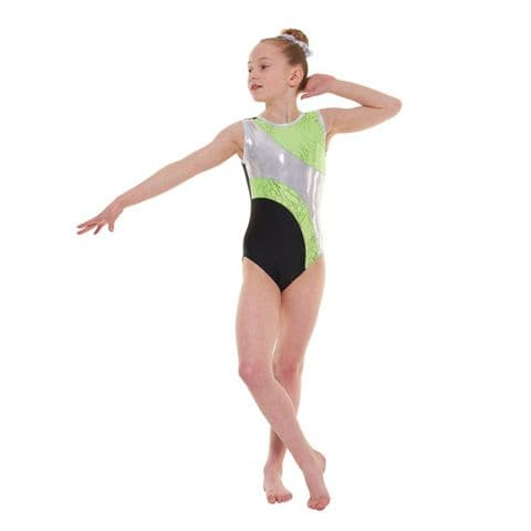 Tappers & Pointers Gym 37 No Sleeve Leotard in Green & Black