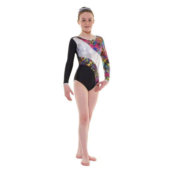 Tappers & Pointers Gym 40 Long Sleeve Leotard in Black with Stars