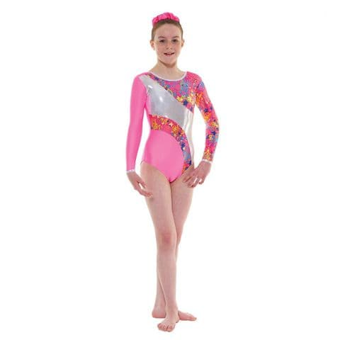 Tappers & Pointers Gym 40 Long Sleeve Leotard in Flo Pink with Stars