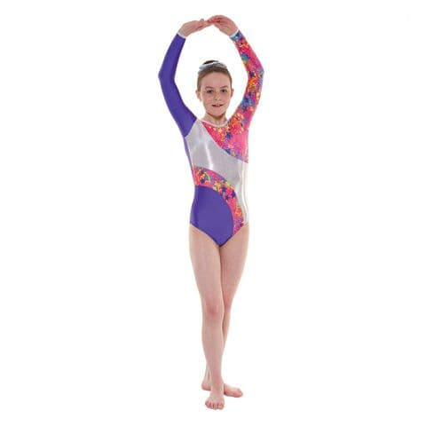 Tappers & Pointers Gym 40 Long Sleeve Leotard in Purple with Stars