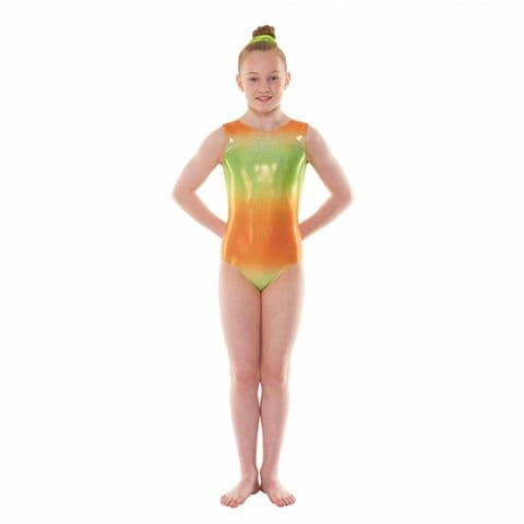 Tappers & Pointers Gym/47 Sleeveless Ombre Gym Leotard in Green & Orange