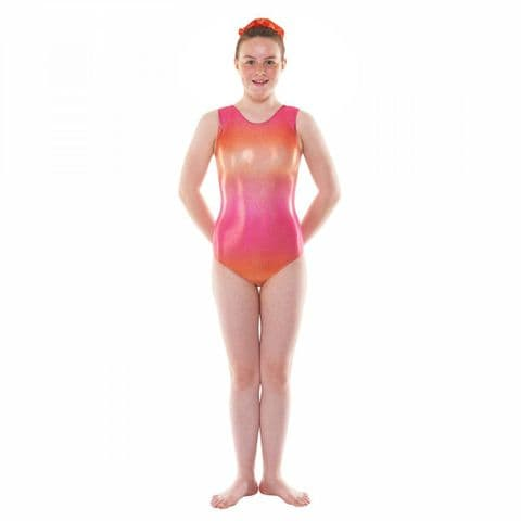 Tappers & Pointers Gym/47 Sleeveless Ombre Gym Leotard in Pink & Orange