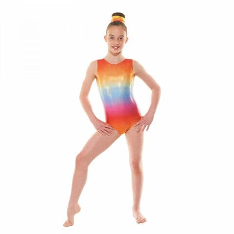 Tappers & Pointers Gym/47 Sleeveless Ombre Gym Leotard in Rainbow