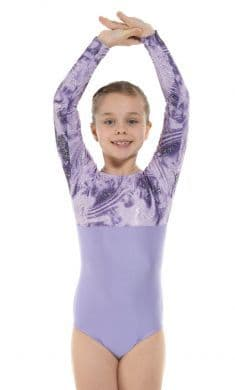 Tappers & Pointers Gym 8 Long Sleeve Gymnastic Leotard in Lilac