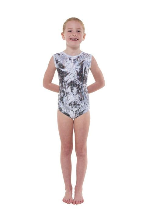 Tappers & Pointers Gym Leotard in Black with Silver Strobe