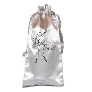 Tendu Silver Satin Pointe Shoe Bag