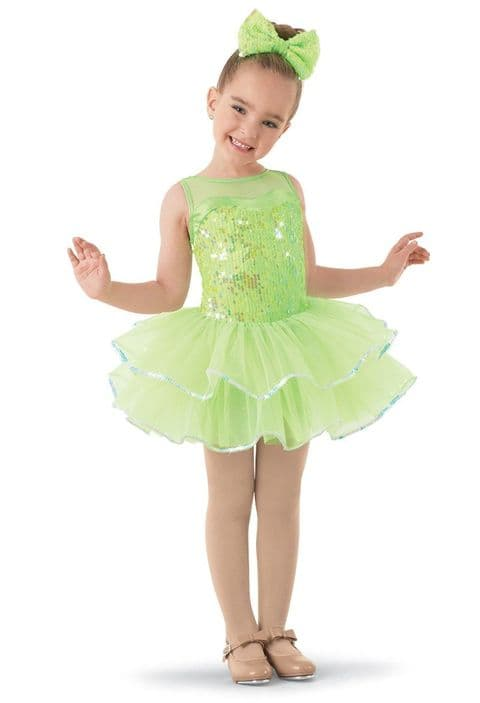 Weissman 9686 'Fly to Your Heart' Sequin Tutu dress in Lime Green Hire Costume