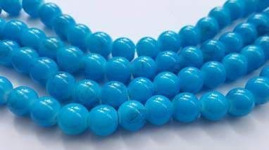 10mm Glass bright drawbench round beads (20) Turquoise