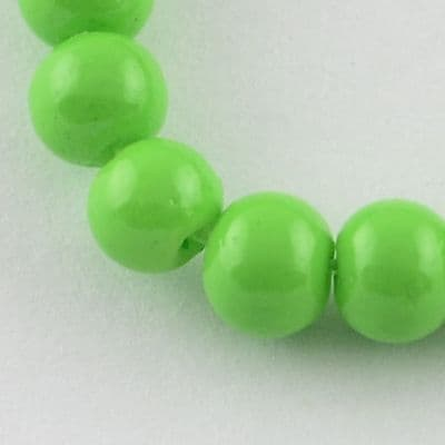 6mm Round Baking Beads Lime Green (30)