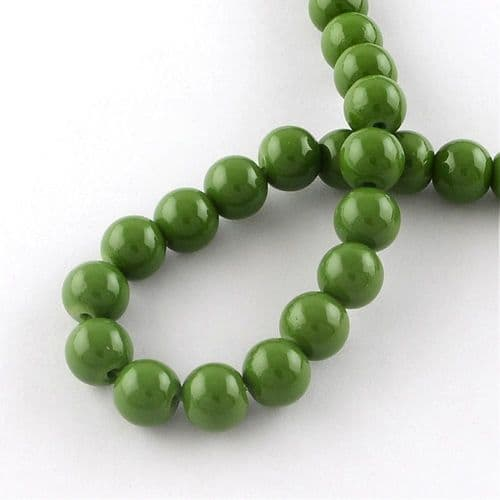 6mm Round Baking Beads Olive Green (30)