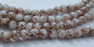 6mm Spray Painted Glass Beads (30 beads) - White with Brown Fleck