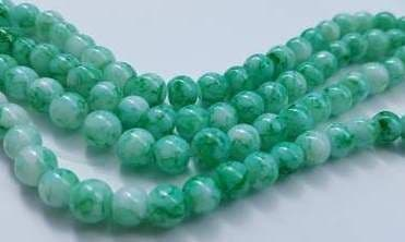 6mm Spray Painted Glass Beads (30 beads) - White with Green Fleck