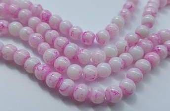 6mm Spray Painted Glass Beads (30 beads) - White with Pink Fleck