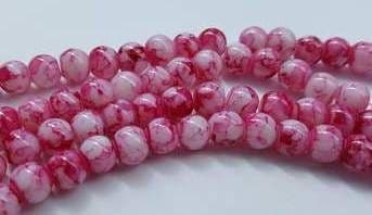 6mm Spray Painted Glass Beads (30 beads) - White with Red Fleck
