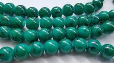 8mm Spray Painted Glass Beads (25 beads) - Green with black fleck