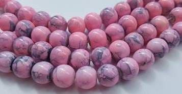 8mm Spray Painted Glass Beads (25 beads) - Pink with grey fleck
