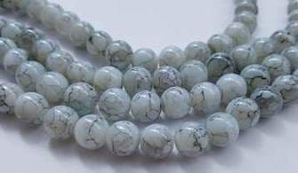 8mm Spray Painted Glass Beads (25 beads) - White with Black fleck