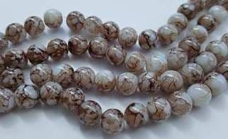 8mm Spray Painted Glass Beads (25 beads) - White with Brown fleck