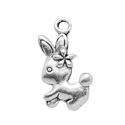 Alloy Charm - Antique Silver - Rabbit with Flower (Pack of 5)