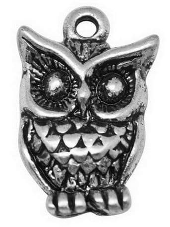 Alloy Charms - Antique Silver Owl - pack of 5