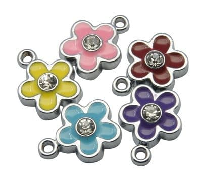 Alloy Enamel Flower Charm/Pendant with Rhinestone - Pale Pink (pack of 2)