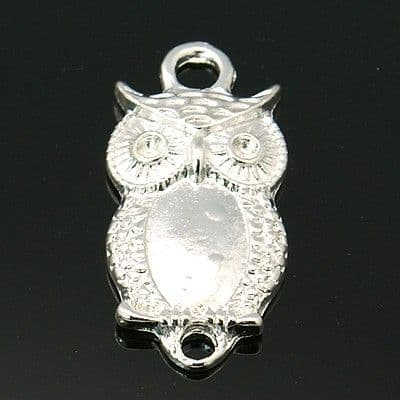 Alloy Silver Charm Connector - Owl - Pack of 4