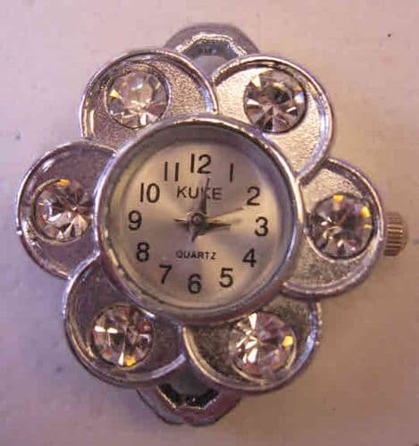 Alloy Watch Components, with Rhinestones - daisy flower
