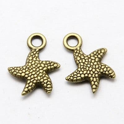 Antique Bronze Tibetan Style Charms - Starfish (Pack of 10)